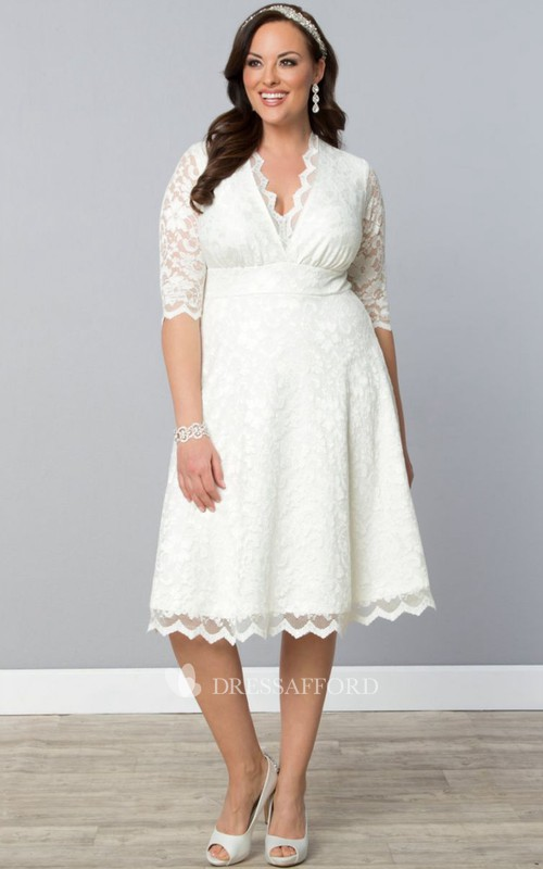 V-neck Half Sleeve Knee-length A-line short Lace Dress