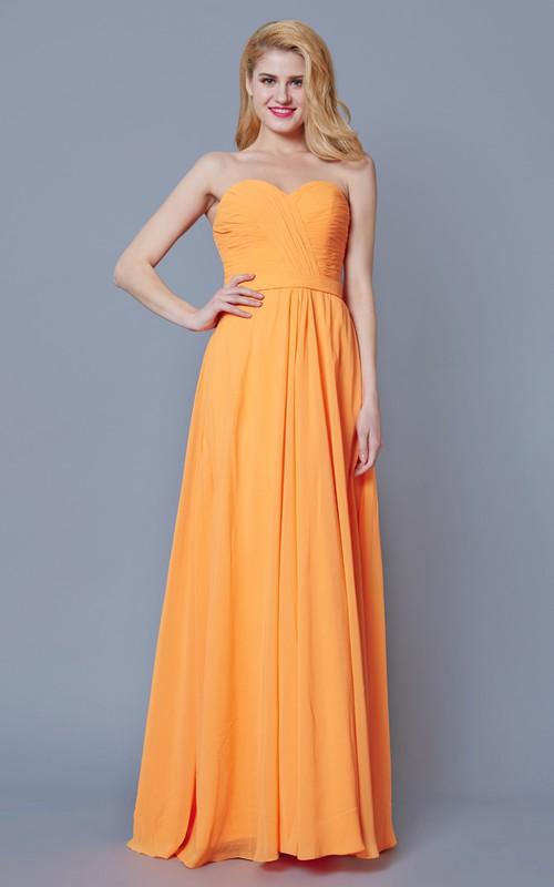 Sweetheart Criss-cross Chiffon Floor-length Backless Bridesmaid Dress
