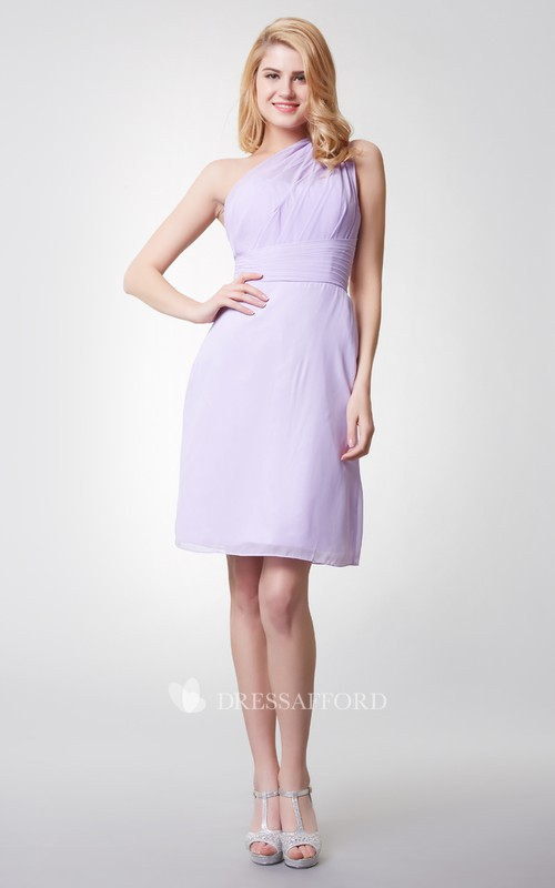 Demure One Shoulder Sheath Short Chiffon Dress With Ruching