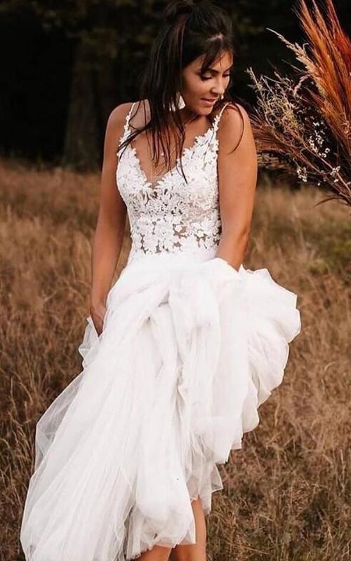 V-neck Lace Tulle Sleeveless Sweep Train Low-V Back A Line Wedding Dress