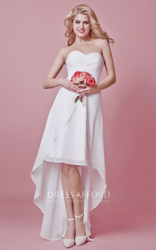 Sweetheart Pleated Bodice High-Low Chic Chiffon Gown