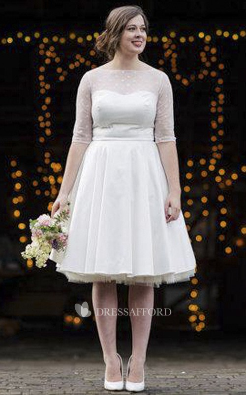 Wedding Dotted Tulle Bodice Tea-Length Vintage Gown