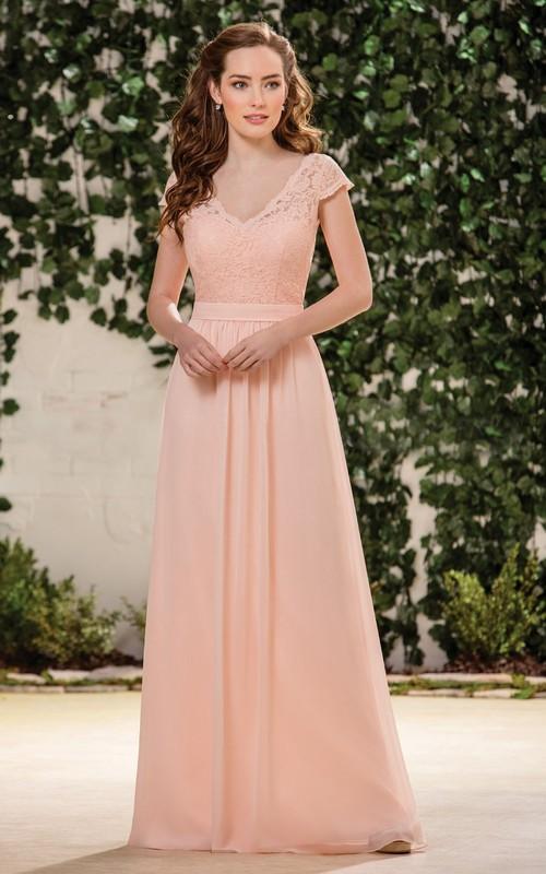 V-neck Cap-sleeve Floor-length Lace And Chiffon Bridesmaid Dress