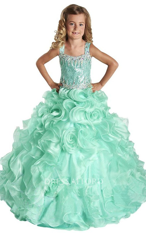 A-Line Sequined Ruffles Bateau-Neckline Sleeveless Dress