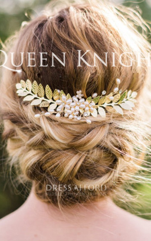 Western Style Wind Pearl Rhinestone Gold Leaf Hair Comb