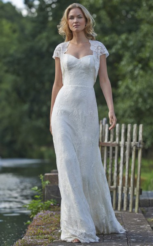 Cap-sleeve Sheath Long Dress With Lace And Illusion