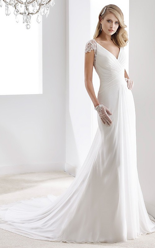 Plunged Cap-sleeve Chiffon Wedding Dress With Ruching And Illusion back