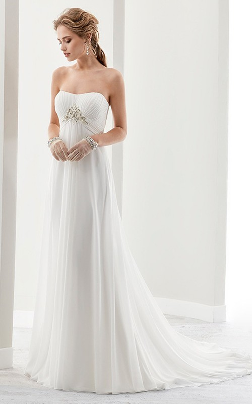 Strapless Draping Bridal Gown With Pleated Bust And Invert-V Beaded Waist