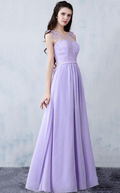Scoop-neck Sleeveless A-line Chiffon Dress With Lace top