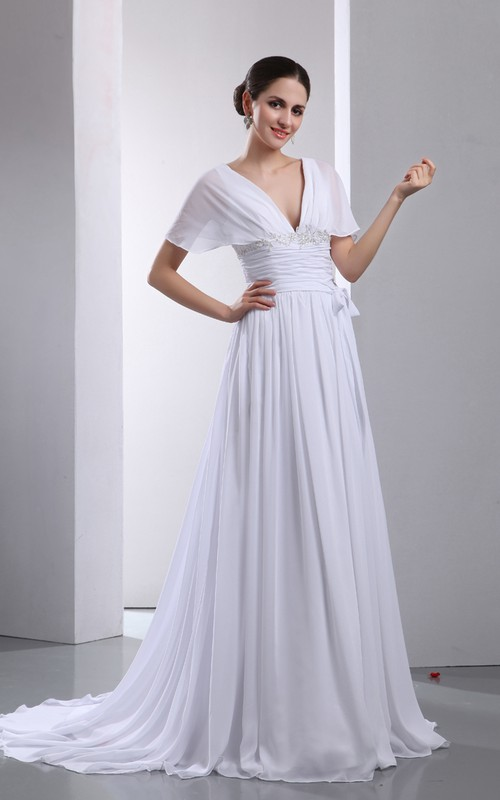 Soft Pleated Fantastic A-Line Capped Gown