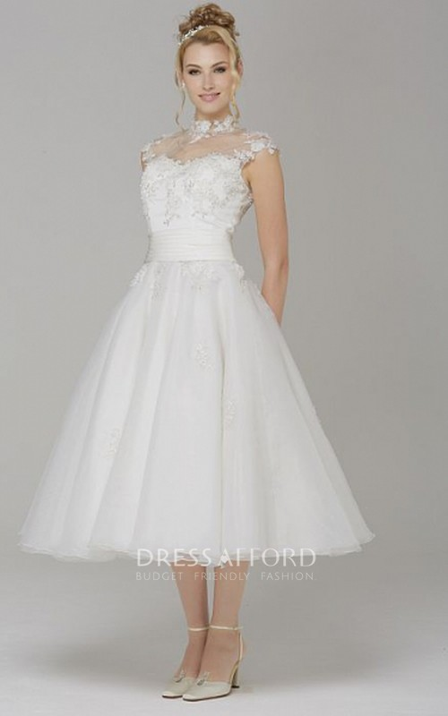 High Neck Cap-sleeve A-line Tulle Tea-length Wedding Dress With Appliques
