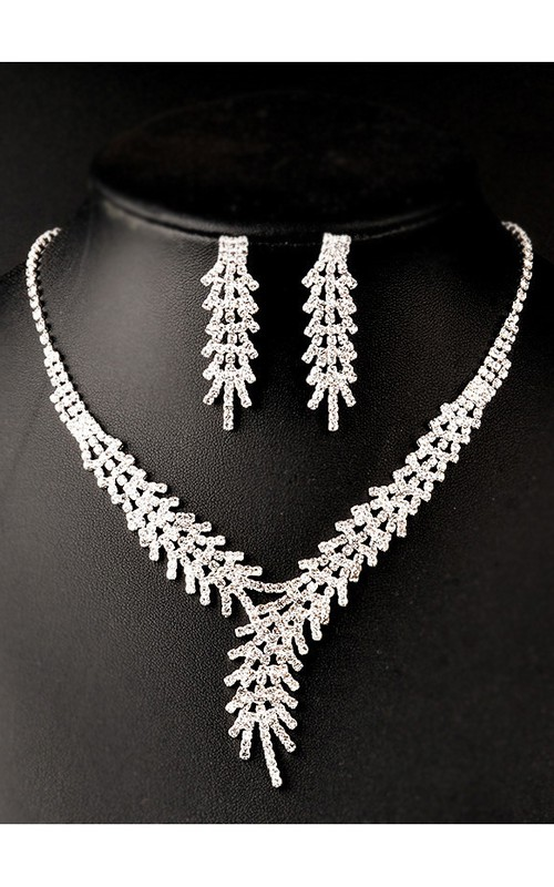 Classic Feather Shape Rhinestone Necklace and Earrings Jewelry Set