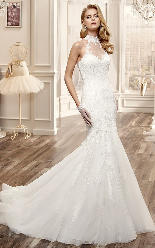 High Neck Sleeveless Lace Appliques Trumpet Wedding Dress With Keyhole And Court Train