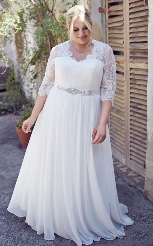 A-line Half Sleeve V-neck plus size Wedding Dress With Waist Jewellery