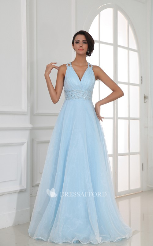 V-Neckline Sequined Waist Long Halter A-Line Gown
