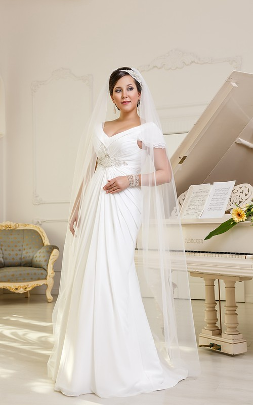 Cap-Sleeve Rhinestone Chiffon Ruched Floor-Length A-Line Lace-Up-Back Gown