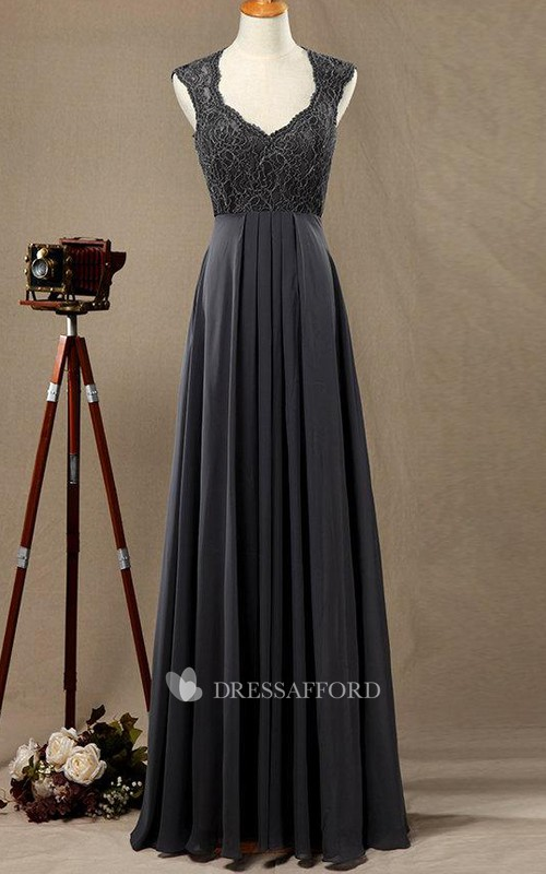 Queen Anne V-neck Chiffon A-line Bridesmaid Dress With Appliques And Pleats