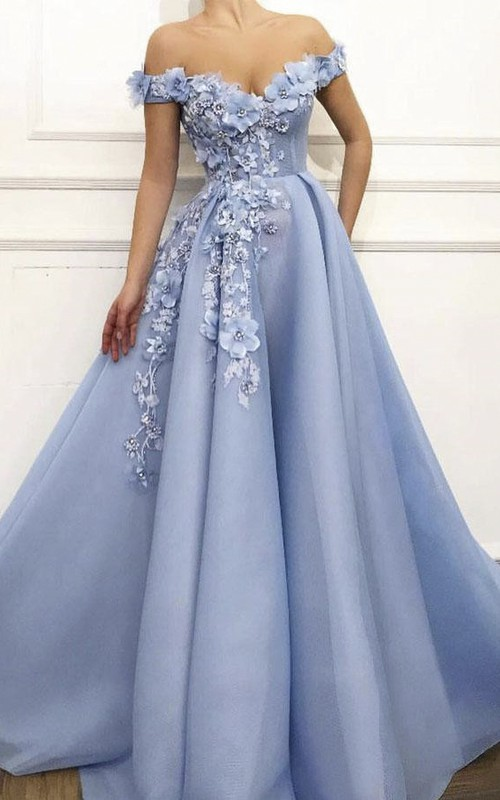 Romantic Ball Gown Off-the-shoulder Dress With Floral Appliques And Beading