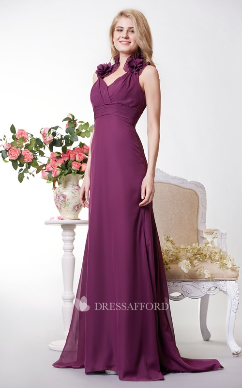 Chiffon High-Waist Halter-Neckline Vibrant Gown