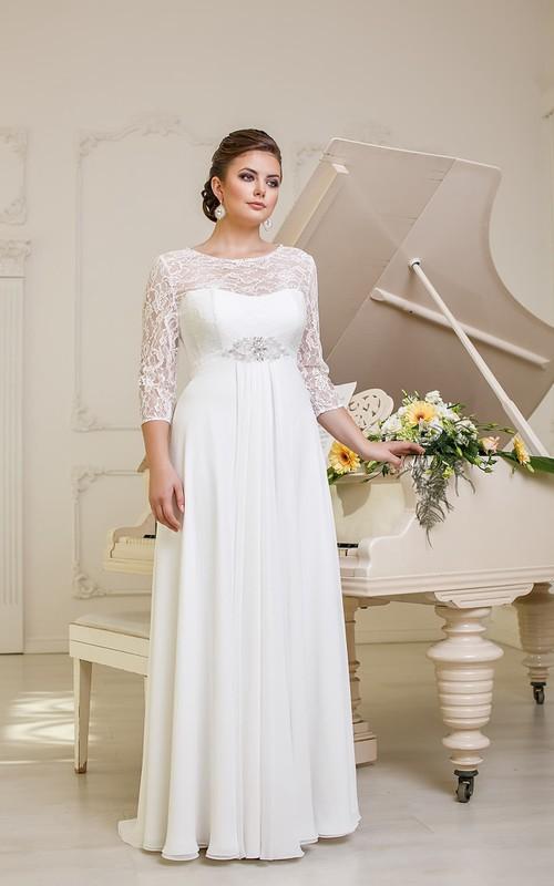 Illusion-Sleeve Jewel Chiffon Pleatings Long A-Line Lace-Up-Back Dress