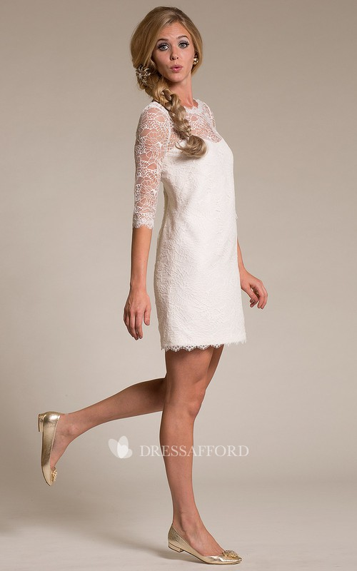 adorable Lace Half Sleeve short Wedding Dress With Low-V Back