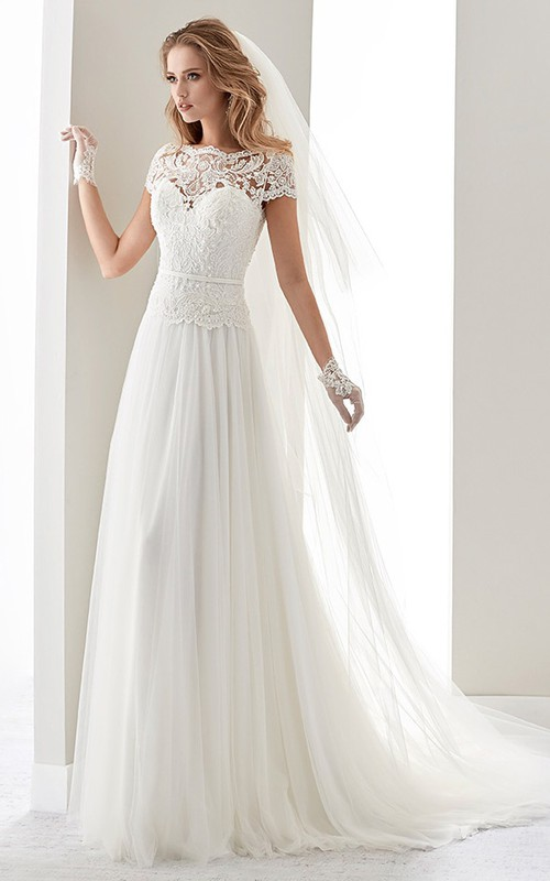 Bateau Short Sleeve Tulle A-line Dress With Lace And Illusion