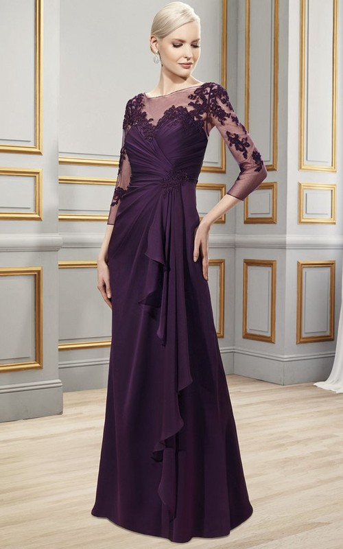 Long-Sleeve Formal Bateau-Neckline Appliqued Chiffon Gown