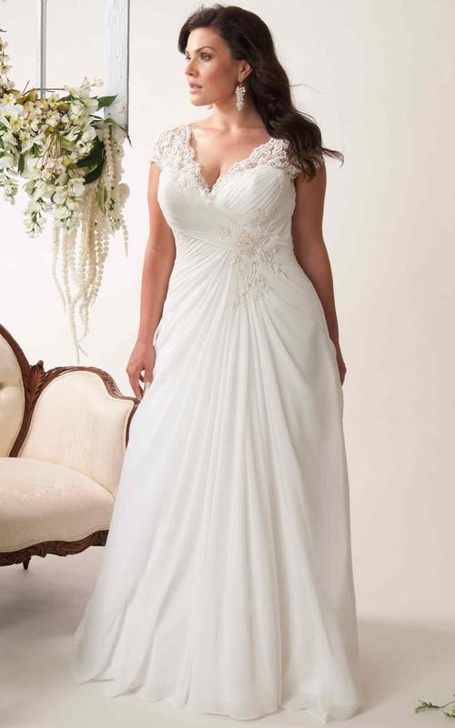 V-neck Cap-sleeve Criss cross plus size Wedding Dress With Keyhole back