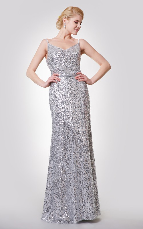 A-Line Draped Back Spaghetti-Strap Sassy Sequined Gown