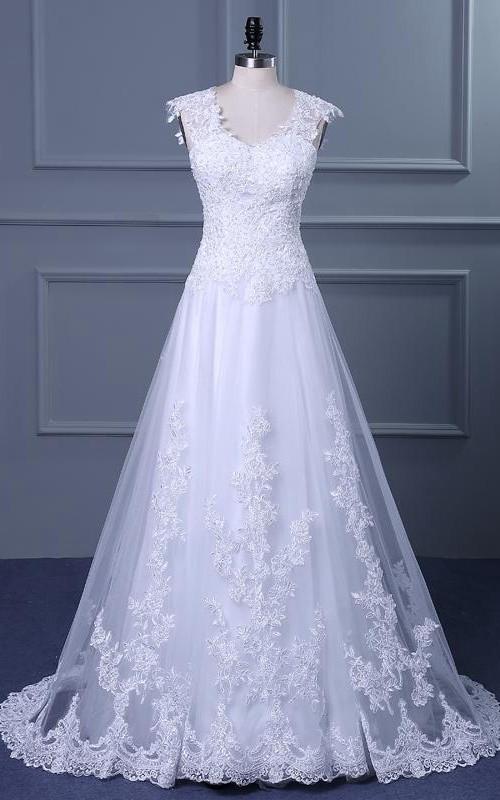 Single-Shoulder Chapel-Train Lace Short A-Line Tulle Jewel Dress