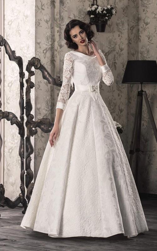 Satin Lace-Up Back Lace A-Line Bridal Dress