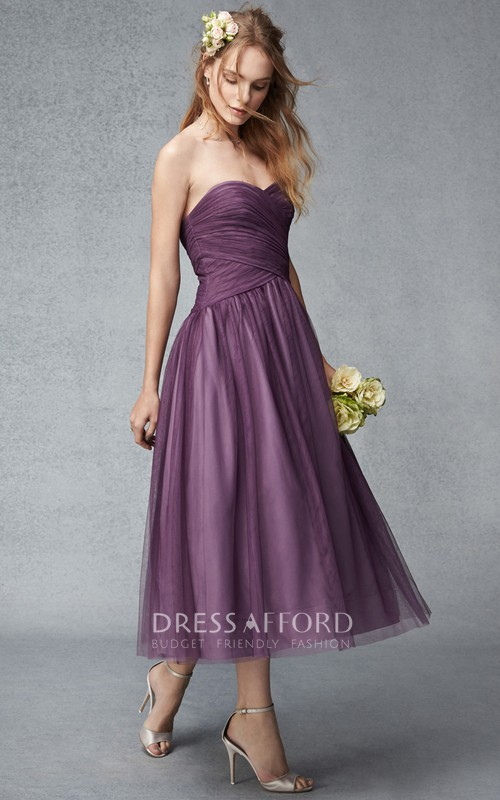 Sweetheart Criss cross Tea-length Tulle Bridesmaid Dress
