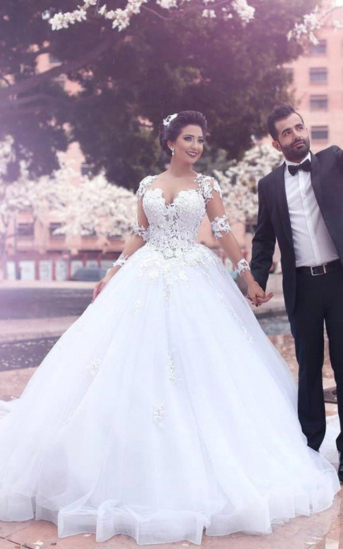 Ball Gown Long Sleeve Floor-length Court Train V-neck Tulle Wedding Dress with Zipper Illusion Back