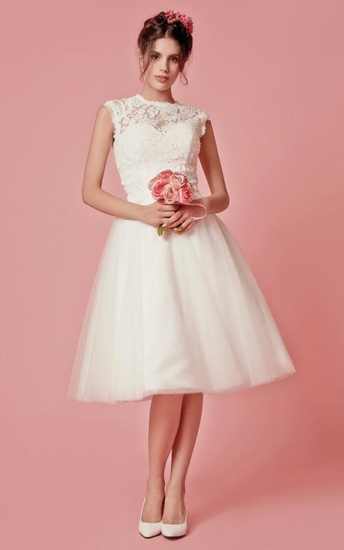 Knee-Length Jacket A-Line Cap-Sleeved Wedding Dress
