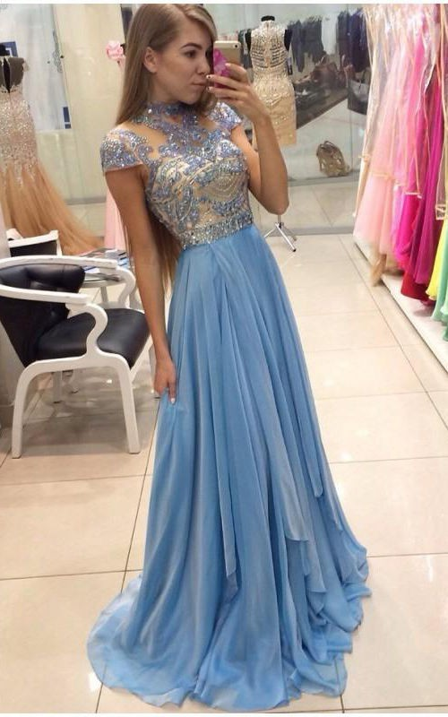 Cap-sleeved A-line Chiffon Dress with Sequined Bodice