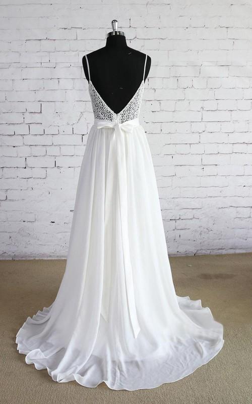 Bridal Lace Top A-Line Spaghetti-Strap Dress