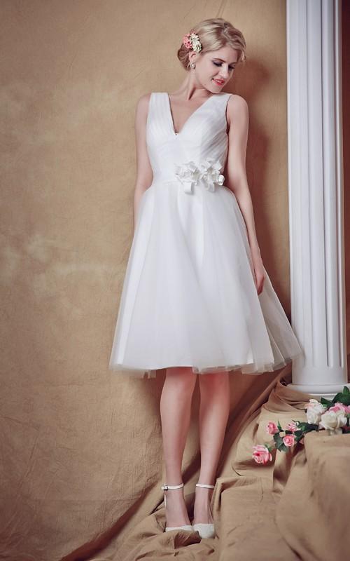 Tulle Ruched Waist Satin Belt V-Neckline Sweet Gown