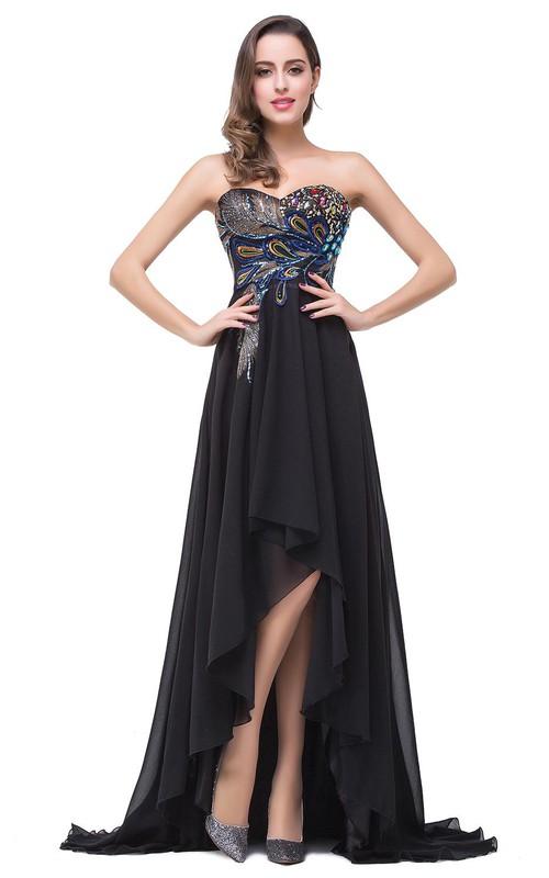 Chiffon Hi-Lo Brush Train Prom Black Newest Peacock Dress