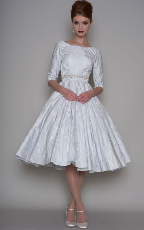 Bateau Satin Half Sleeve Tea-length A-line Wedding Dress With Jeweled Waist
