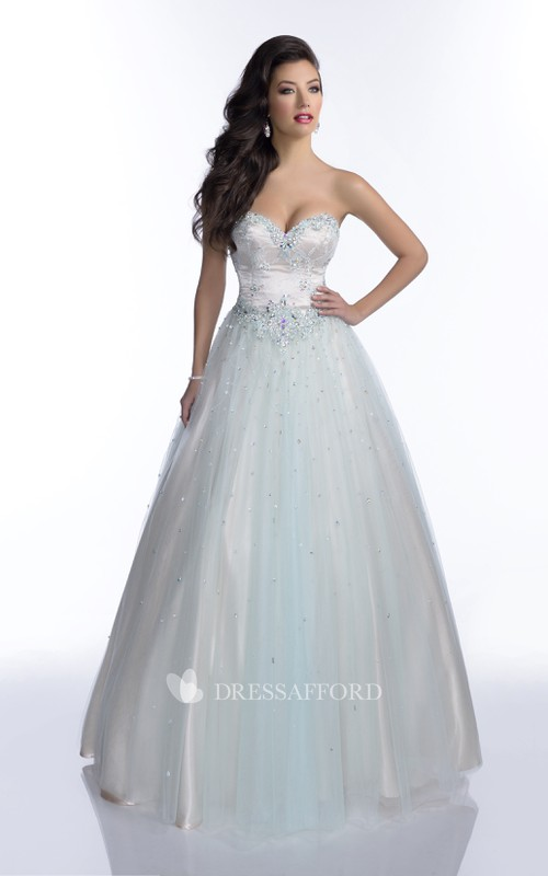 Sleeveless Shining Sequined Open Back A-Line Sweetheart Tulle Strapless Formal Dress