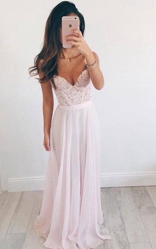 Straps V-neck Chiffon Lace Sleeveless Floor-length Lace Pleats Dress