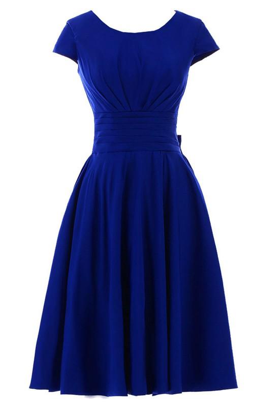 Pleated Bowknot Midi-Length Short-Sleeve Chiffon Dress