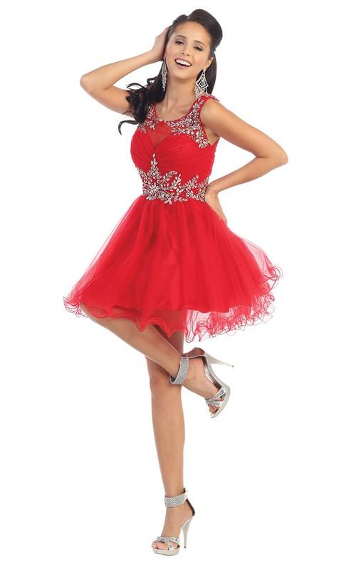 A-Line Keyhole Jeweled Ruffled Short Mini Sleeveless Square-Neck Tulle Dress