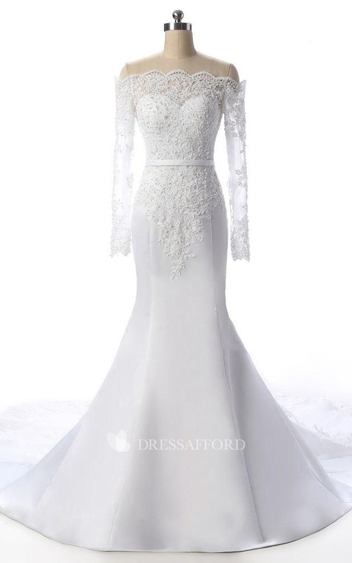 Court-Train Rhinestone Long-Sleeve Fishtail Lace Gown