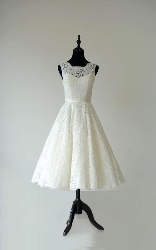 Garden Waistband Sheer-Neck Sleeveless Gown