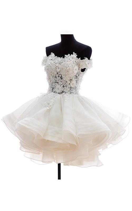 Off-The-Shoulder Zipper Lace Ball-Gown Princess Corset-Back Button Dress