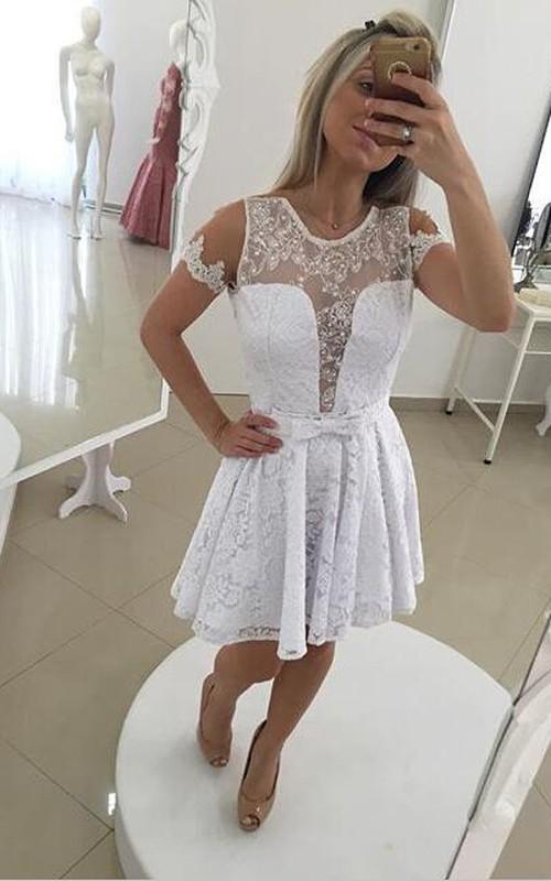 Modern Illusion White Short Cocktail Dress 2018 Lace Bowknot