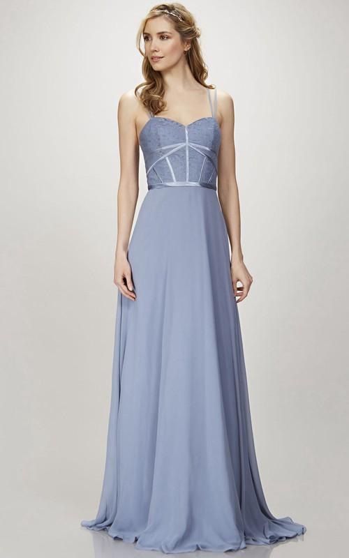 A-Line Spaghetti Appliqued Floor-Length Sleeveless Chiffon Bridesmaid Dress With Zipper Back