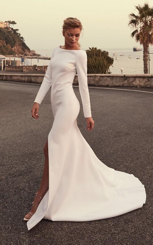 Sexy Satin Mermaid Bateau Front Split Wedding Dress