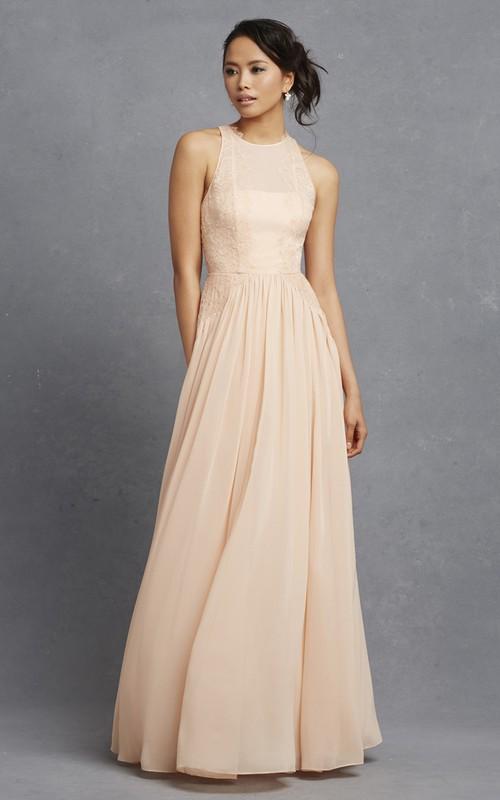 Sleeveless Long-Chiffon Dress With Lace Appliques